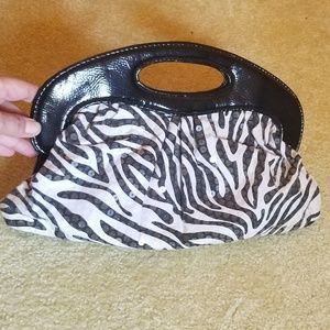 Handbags - NWOT Zebra Sequin Clutch
